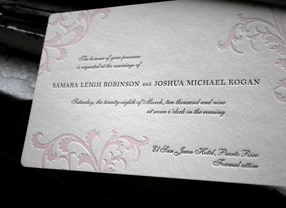 Vettore letterpress wedding invitations - by Smock