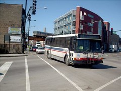 Eastbound CTA bus at the intersection of North Milwaukee Avenue and West Armitage Street. Chicago Illinois. March 2007.