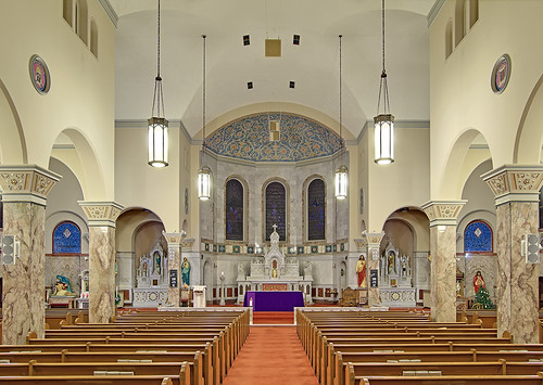 Saint Mary Roman Catholic Church, in Carlyle, Illinois, USA - nave