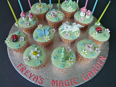 Freya's Magic Garden ...... (abbietabbie) Tags: birthday flowers cake butterfly caterpillar explore cupcake daisy ladybird icing worm unicorn fondant blueribbonwinner