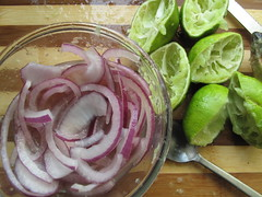 Lime juice in sliced onions