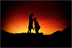 A Fire in the Oven (Extra Medium) Tags: sunset silhouette kiss couple husband pregnant explore maternity wife frontpage simivalley