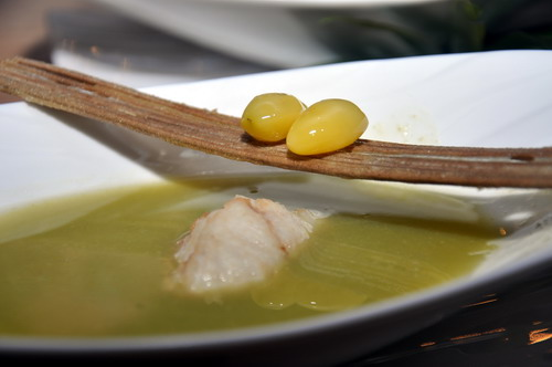 Green Peas Soup with Red Snapper Ball