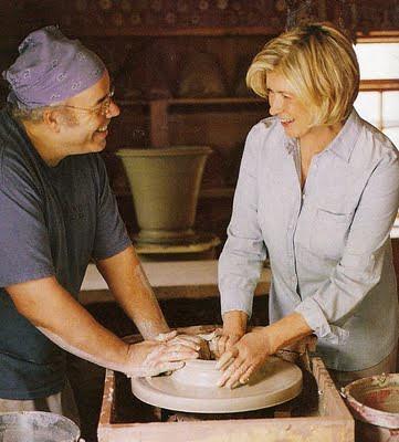 Guy Wolff and Martha Stewart making a pot