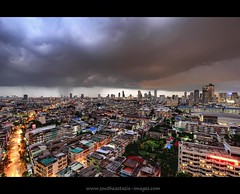 Early Evening Storm over Bangkok Metropolis (I Prahin | www.southeastasia-images.com) Tags: storm black rain weather buildings dark thailand southeastasia flood wind ominous foreboding bangkok flash dramatic monsoon tropical electricity metropolis tall lightning fusion tempest storms thick hdr ferocity sathorn canon1022mm businessdistrict photomatix sathornroad chanroad gettyimagessoutheastasiaq2