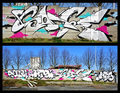 Sunny Sunday (SaNeR hVa KgB) Tags: terrain france art colors wall writing silver painting graffiti decay tag letters can spot peinture chrome abandon writer graff aerosol mur couleur perle mts bombe abandonned lettres kgb wildstyle bande hva rapide handstyle vierge lettrage souri saner ptdq