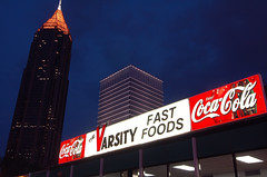 Varsity Fast Foods (RMac_Photography) Tags: city nightphotography blue atlanta ga d50 georgia geotagged nikon downtown cityscape nightshot atl varsity rmac coolshot