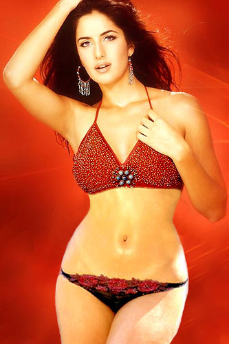 British Indian Actress Katrina Kaif poses in bikini