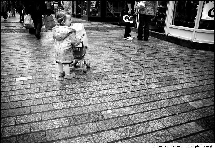 Little girl goes shopping