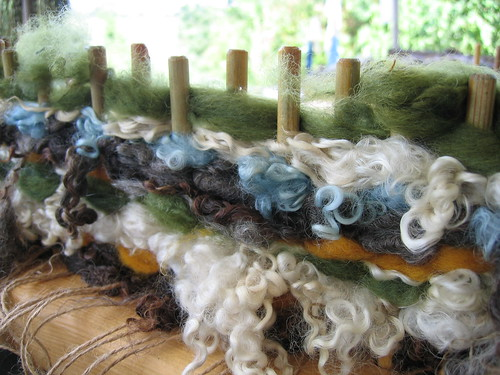 Wool on the peg loom