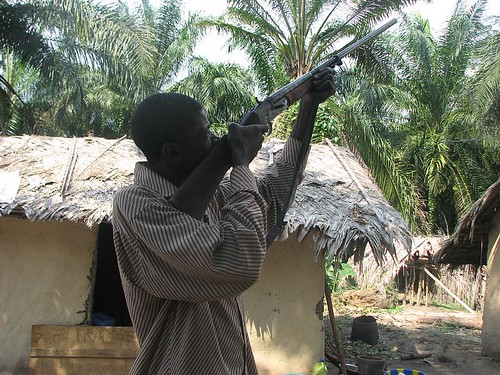 This old gun has been modified for use today to hunt Bonobos and monkeys