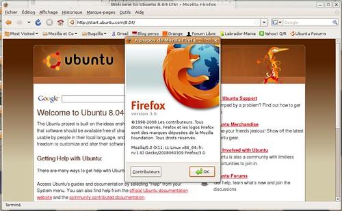 Firefox 3.0rc2 dans Ubuntu, via le dépot hardy proposed