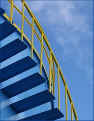 Stairway to . . . (Janice of NZ) Tags: blue sky yellow stairs steps minimal railings theblues blueyellow bluecolour mywinners corazul thisstandsout colorsinourworld