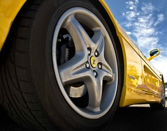 Ferrrrrrarrrrrrri (riclane) Tags: italy car wheel yellow pov perspective automotive ferrari italianfestival sigma1020 visiongroup 1on1photooftheweek 1on1photooftheweekjune2008