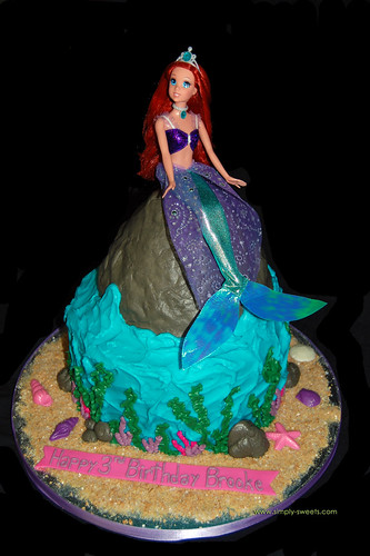 Mermaid ocean scene birthday cake