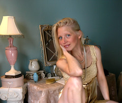 Me at my  dressing table (Blondieyooper) Tags: woman selfportrait me pearls blonde april finnish favoritethings golddress pinklamp vintagetreasures vintagedressingtable blondieyooper