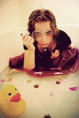 Unintentionally intentional. (olivia bee) Tags: flowers wet water duck magnifyingglass tub bathtub haha lillie rubberduckie mdoel bleedingmascara oliviabee bestfrannnnnn