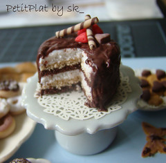 Miniature Food 6 layered Cake (PetitPlat - Stephanie Kilgast) Tags: pink cake fruit butterfly pie doll cookie sweet handmade chocolate sugar polymerclay donut layer minifood sk collectible tart 112 doily dollhouse dollshouse miniaturefood tartelette oneinchscale petitplat stephaniekilgast
