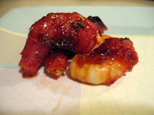 Prosciutto-wrapped shrimp with Marsala glaze