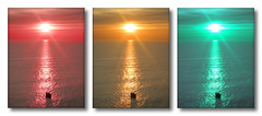 Rush Hour (Finntasia old) Tags: ocean sunset sea sun water lights coast boat triptych traffic go stop chapeau feu finntasia vanagram nigelfinn