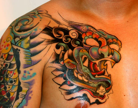 Foo Dog Tattoo. Results are in from the 2nd session. Ouch!
