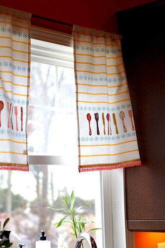 Tea towels turned curtains