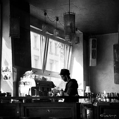 Berlin publife at breakfast (moggierocket) Tags: morning windows bw sunlight berlin coffee breakfast bar kreuzberg shadows barman 500x500 nikond200 winner500 hourofthesoul moggierocket