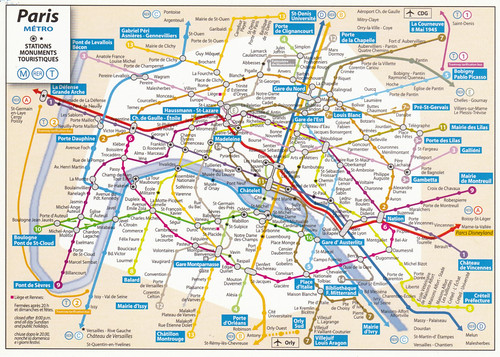 Paris Metro Map With Monuments.Paris Metro Map Postcard 1999 A Photo On Flickriver