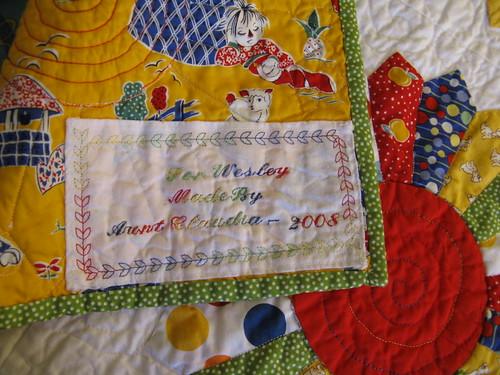 Baby quilt label
