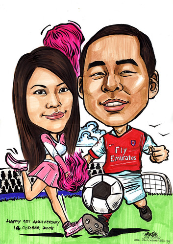 Couple caricatures Arsenal & cheer leader