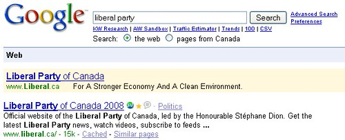 Liberal Party Adwords