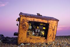 Derelict engine thing on Dungeness beach (Jamey Howard) Tags: beach coast purple howard engine photoblog rubbish dungeness discarded jamey derelict rundown purplesky