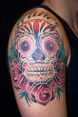 sugar skull tattoo (maliareynolds) Tags: atlanta dayofthedead tattoos diadelosmuertos memorialtattoo maliareynolds sugarskulltattoo femaletattooer atlantatattooer