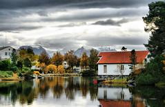 Down by the waterside (larigan.) Tags: autumn mountains fall clouds reflections inlet boathouse blueribbonwinner naust newsnow mywinners omot larigan borgundgavlen phamilton katavgen larsnesbuda