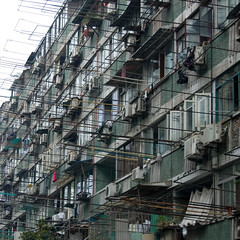 Shanghai Apartment block (shanghaimike) Tags: china city houses urban home beautiful beauty lines architecture asian nikon shanghai chinese streetscene architectural explore prc clotheslines shanghaiist washing huangpu asianbeauty d40 nikond40 huangpudistrict