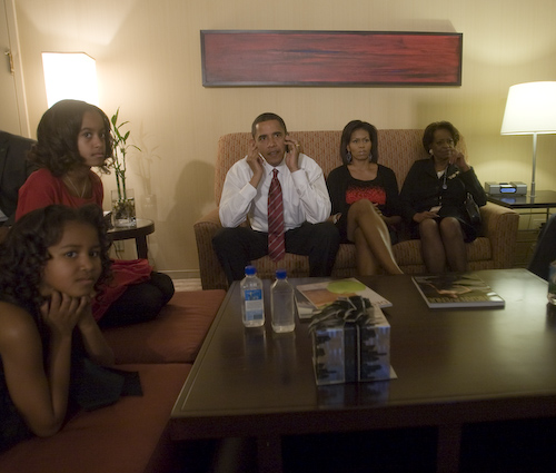 Obama family - Barack, Michelle, Sasha, and Malia - watching election returns