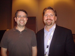A taller Matt Cutts and Lee Odden
