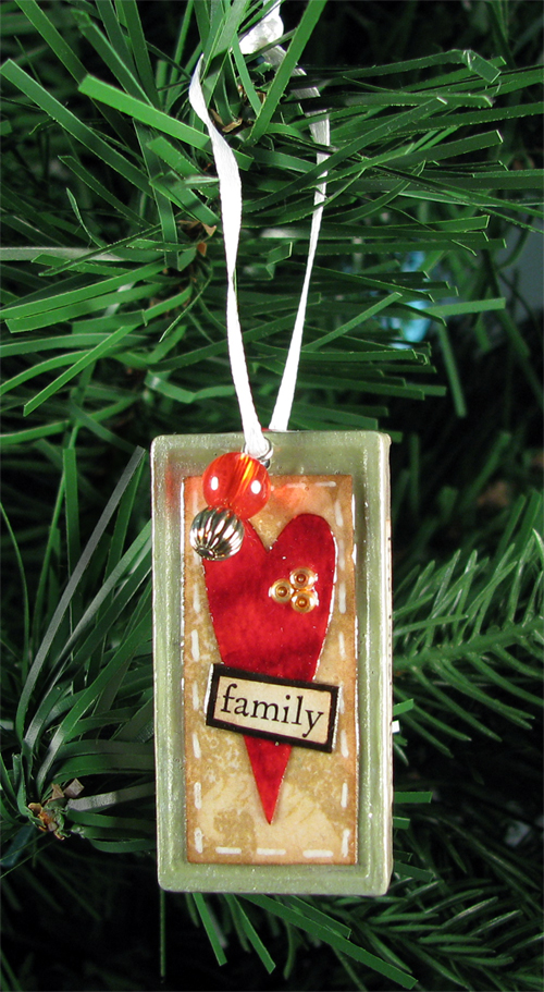 Heart and Family Altered Domino Christmas Tree Ornament - Live Laugh Love