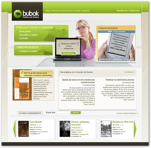 Olores, palabras, rincones, página principal de BUBOK