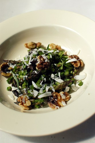 raw asparagus salad with toasted walnuts and mizithra cheese