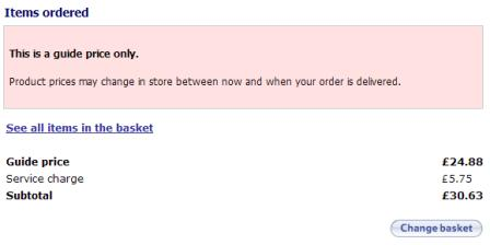 Tesco order page
