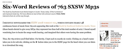 Six-Word Reviews of 763 SXSW Mp3s by Paul Ford - The Morning News