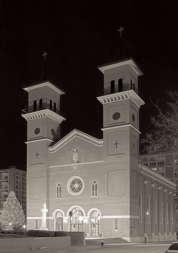Saint John Apostle and Evangelist Roman Catholic Church at night, in Saint Louis, Missouri, USA