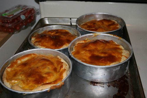 Pies out of the oven