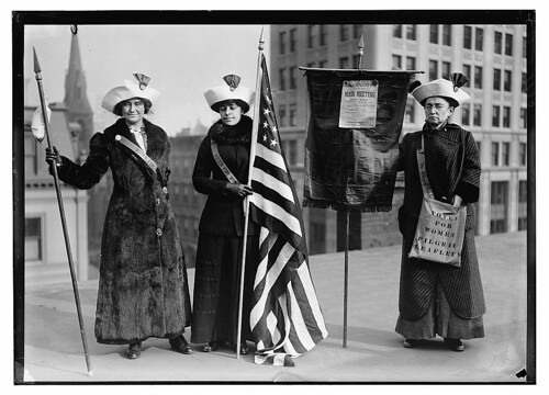 [Suffragettes with flag] (LOC)