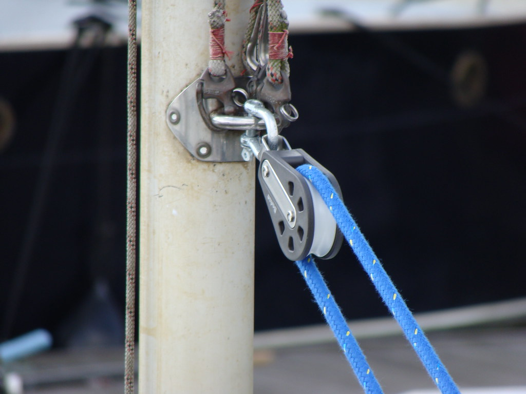 the pulley on the mast.