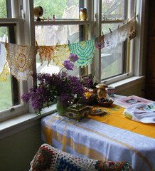 drying the doilies (knitalatte11) Tags: windows kitchen vintage table book knitting wip lilac jacket doilies linens