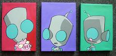 GiR Triplets (Option8) Tags: color painting pig paint acrylic cartoon canvas april2005 gir invaderzim 5x7