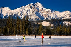 Skating at Jasper Lodge (view[  ]finder) Tags: winter mountains ice hockey skating pondhockey omot excellentphotographersaward bestofwinter naturallymagnificent goldenpicturesworth1000words dynamicimages tomfredaphotography flickr12days