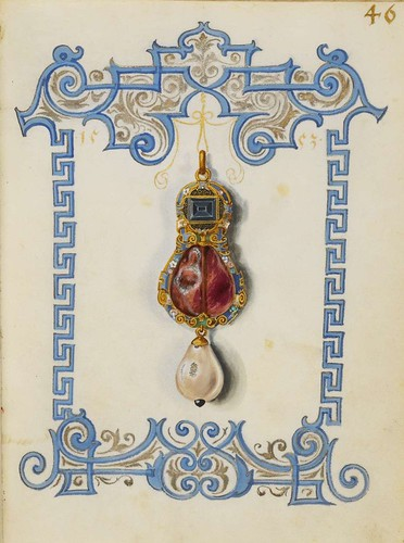 Colgante de rubi y perla 46r